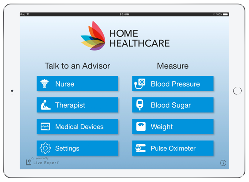 Live Expert Mobility Home Healthcare iPad Menu